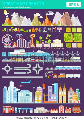 Great set of map creator with mountains, trees, buildings,roads,vehicles and many other objects. Create your own world. Map constructor. Vector illustrations and infographics