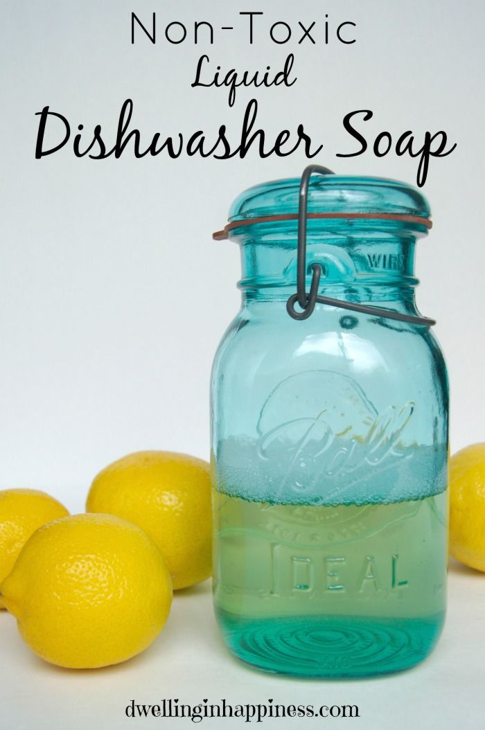 Ditch store-bought dishwasher detergent and make your own all-natural liquid dishwasher soap! Only 3 simple ingredients!