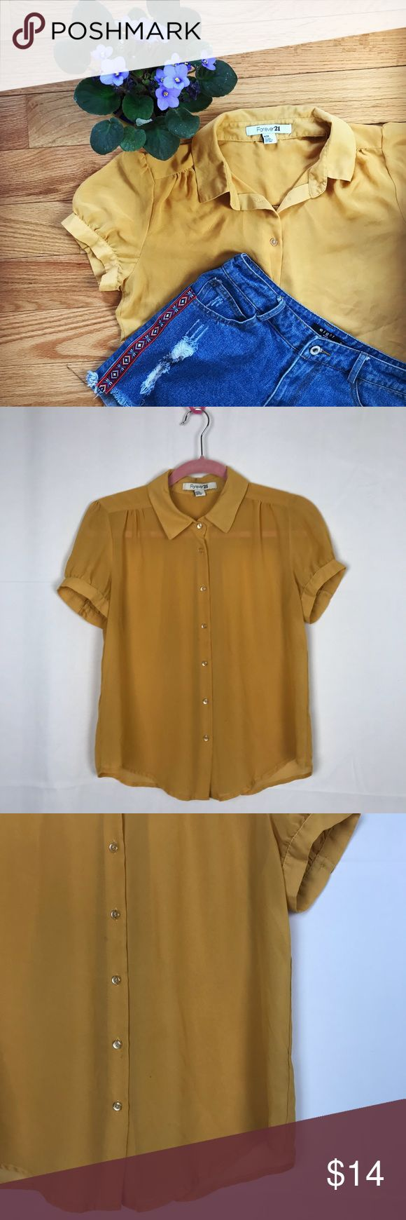 Forever 21 Mustard Yellow Chiffon Blouse I don't even think I've worn this once. I do this with a lot of my clothes so check out out my closet!  Let me know if you have any questions  No trades  All sales final Forever 21 Tops Blouses
