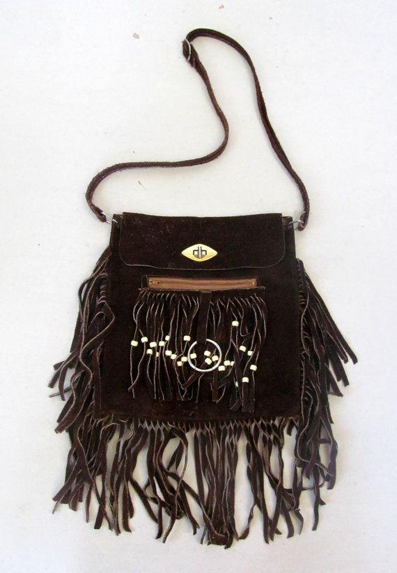 6ee066615d Vintage Hippie Purse   Boho Purse   60 s Hippie Purse   Hippie Handbag   Boho  Handbag   Suede Purse Fringe Leather Purse Brown Leather Purse