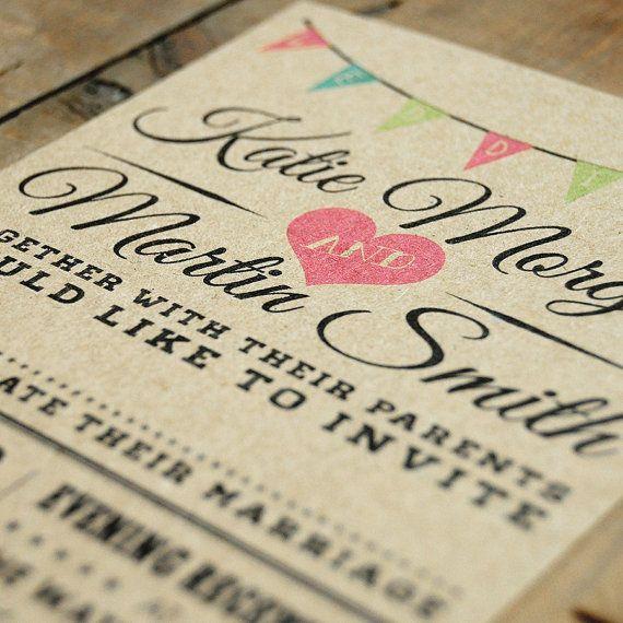 Jahrgang Bunting Hochzeit Einladung setzen auf von FeelGoodInvites