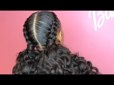 Feed In Braids With Curly Ponytail Hairspiration