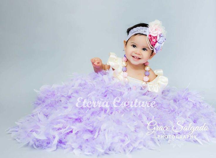 Vintage Princess Ivory / Lavender Feather Tutu Dress for ...