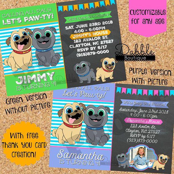Puppy Dog Pals Birthday Invitation Puppy Dog Pals Birthday Invitation Includes Free Thank You Card Birthday Invitations Free Thank You Cards Invitations