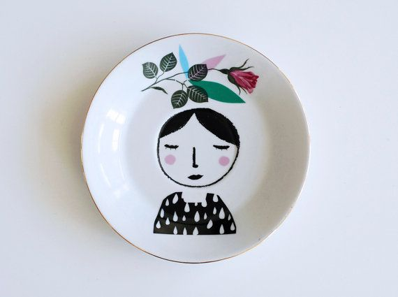Girl with feathers in her hair plate by Ninainvorm on Etsy