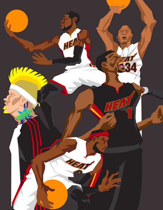 Miami Heat 'The Champs' Caricature Art - Hooped Up