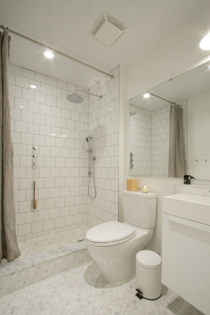 All White Bathroom Renovation | Remodelista. Using An Offset Pattern For  The Standard Square Part 85