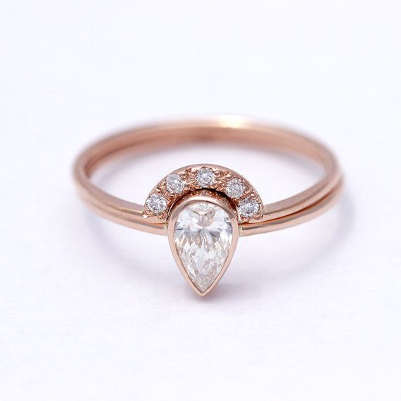 Pear Diamond Engagement Ring with a Pave Diamonds Crown by artemer