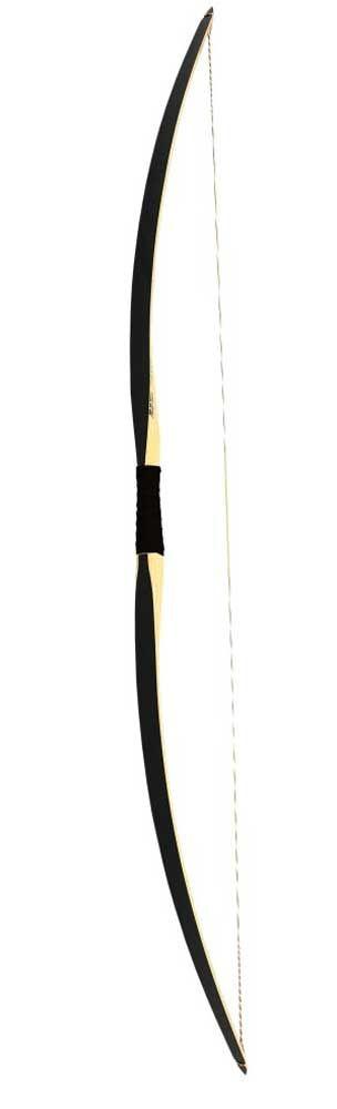 Traditionele longbow Beier Black² 68 inch lang en verkrijgbaar in trekgewichten van 20 tot 40 lbs Longbow is gemaakt van van essen hout en zwart glasvezel
