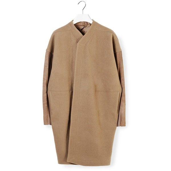 Rick Owens Oversized Coat (€597) ❤ liked on Polyvore featuring outerwear, coats, jackets, oversized coat, camel coat, rick owens coat, oversized camel coat and rick owens