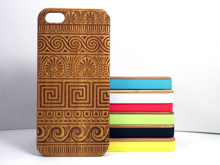 Greek Pattern iPhone 5C Bamboo Case. Grecian Fret Key Design. Meander Lines Tribal Tattoo. Wood Phone Cover. iMakeTheCase Free US Shipping (25.00 USD) by iMakeTheCase