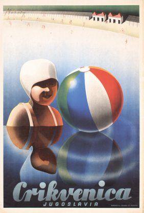 1930s Beach Travel Poster Yugoslavia http://www.adriaticaccommodation.net