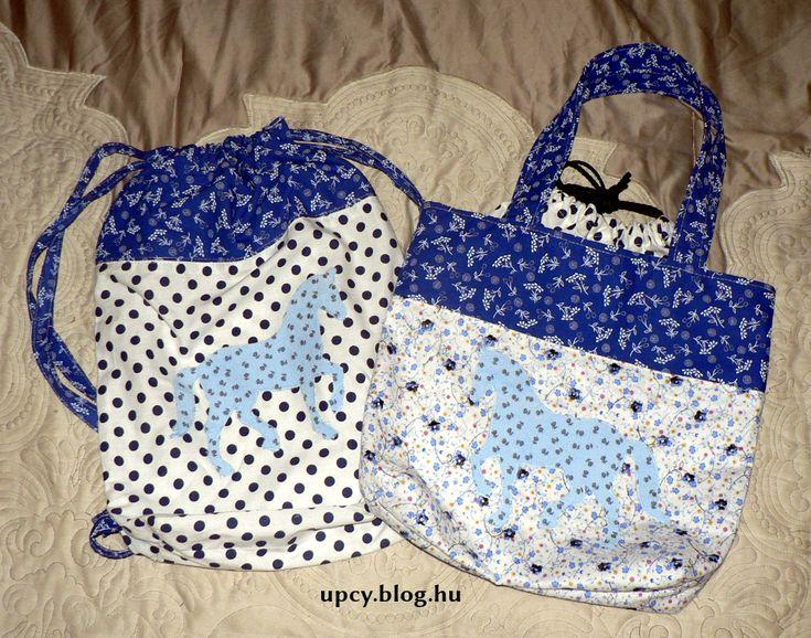 Bags with horse applique - left-over fabric. Ló mintás táskák maradék anyagokból.