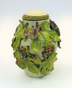 Frogs & Chameleons on Vines vase - Ken Rowse