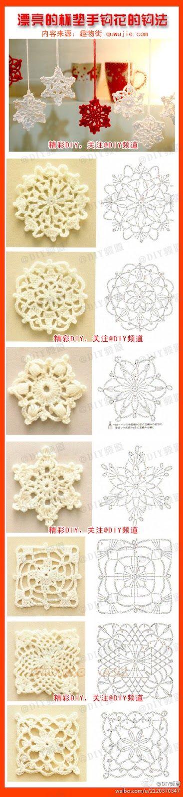 Crochet Stars ijskristallen haken en maak een mobiel  (Receitas de Crochet)
