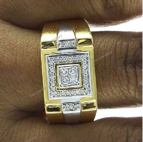 10k Yellow Gold Mens Round Cut Diamond Pinky Ring Solitaire Wedding Band 1.40 Ct #tvsjewelery #WeddingPinkyBandRing