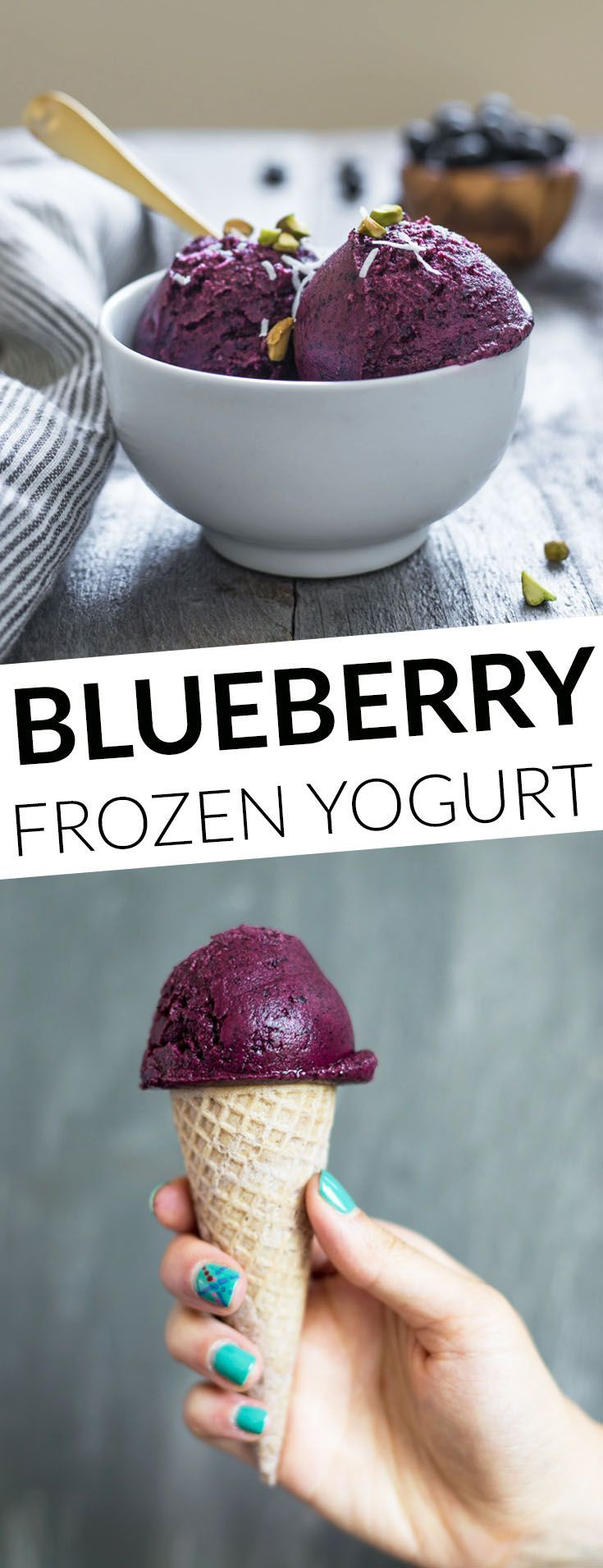 Easy homemade blueberry frozen yogurt that requires 4 ingredients only ...