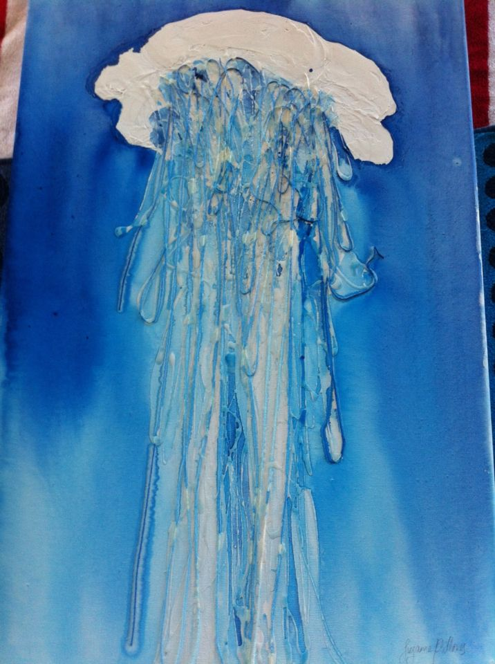 """""""Bobbing blue jellyfish"""" - original mixed media and watercolour painting on canvas (20"""" x 30""""). For sale. For more marine artworks and science stories follow me as Dr Suzie Starfish on Facebook."""