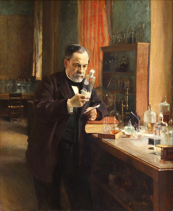 """""""Louis Pasteur's Study"""" by Albert Edelfelt (1854-1905) - This was his 1885 portrait of scientist Louis Pasteur exhibited at the 1886 Salon. French master Leon Bonnat also had a Pasteur portrait at the Salon, but Edelfelt's painting was the critical success, resulting in his becoming a member of the Legion d'Honneur."""