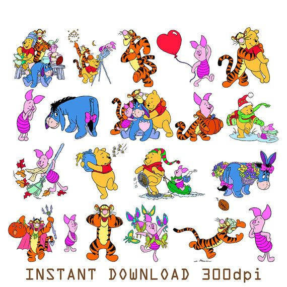 7 best winnie the pooh images on pinterest tigger clip art and 126 winnie the pooh digital clipart printable pictures tigger piglet burro eeyore graphic scrapbooking invitations instant voltagebd Gallery