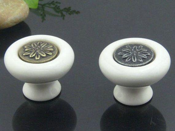 Dresser Knobs Drawer Knob Pulls Handles / White Cabinet Knobs / Door Knob Vintage Furniture Hardware Antique Bronze Black Flower Porcelain