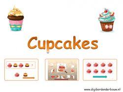 Digibordles. Drie verschillende spelletjes zitten er in deze cupcakes digibordles. Spel 1: Maak de reeks af. Steeds zie je een reeks van heerlijke cupcakes. Welke cupcake moet op het plaatje van de vraagteken? Klik daar op. Spel 2: Een cupcakepuzzel. Er ontbreekt een puzzelstukje. Weet jij welk stukje dat is? Spel 3: Tel de cupcakes. Heb je dat gedaan, dan klik je op de pijl. Nu komen er allemaal cijfers. Klik op het goede cijfer