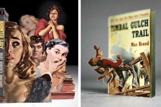 Michigan-based artist Thomas Allen turns classic book covers into pop-up sculptures.