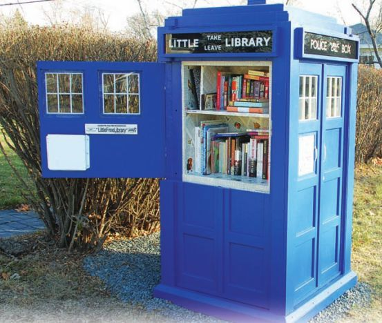 The Little Tardis Library.  See https://www.facebook.com/TardisLittleLibrary