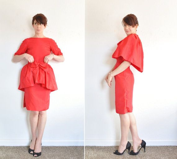 1950 red convertible peplum dress . 2 pc cocktail party capelet .extra small.xs .sale