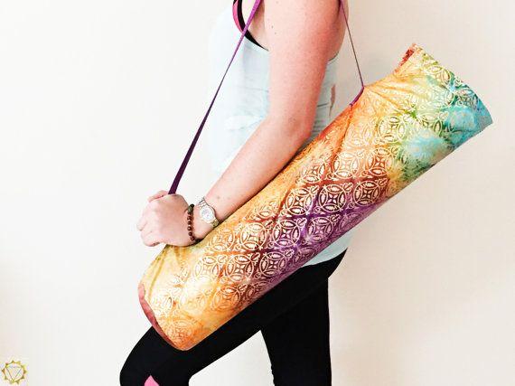 Yoga mat bag Yoga bag Yoga gift for her Colorful by SunshineAndZen
