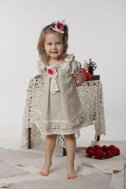 """Dress for girl / Платья ручной работы. Ярмарка Мастеров - ручная работа. Купить платье для девочки """"Кнопка"""". Handmade. Бежевый, платье, Платье нарядное"""