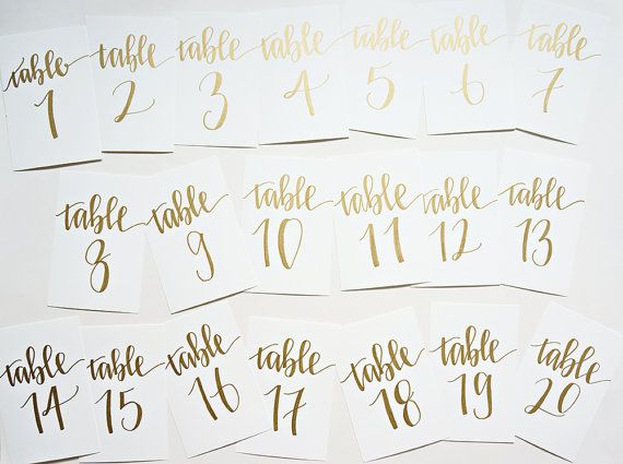 gold calligraphy wedding table numbers // by songandpen on Etsy