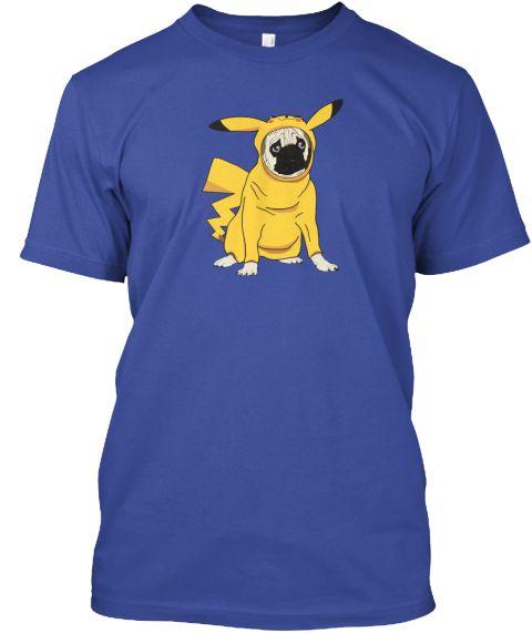 Funny Pug in Pikachu Costume.  #Pokémon #pikachu #PikachuTshirt #pugTshirt #FunnyDog #PokémonTshirt