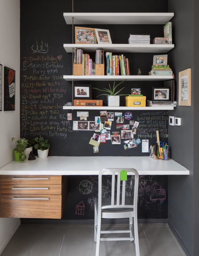 Chalkboard paint looks good with desk stuff but maybe not with the black desk