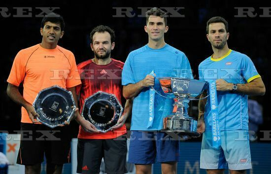ATP/WTA Tennis World Tour 2015 ATP World Tour Finals 2015 Day Eight O2 Arena, Peninsula Square, London, United Kingdom - 22 Nov 2015  Rohan Bopanna (IND) / Florin Mergea (ROM) and Jean-Julien Rojer / Horia Tecau (ROM) pose with Runner's Up and Winner's trophies during Day Eight of the Barclays ATP World Tour Finals 2015 played at The O2, London on November 22nd 2015 22 Nov 2015