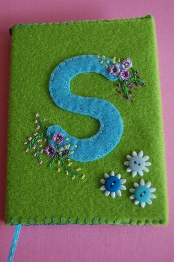 Handmade Initial Felt book cover  made to order by indigo1 on Etsy, $10.00