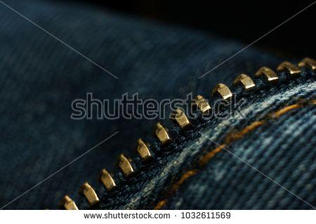 Zipper closeup. Closeup of jeans texture, denim , linen , fabric background. Small depth of field