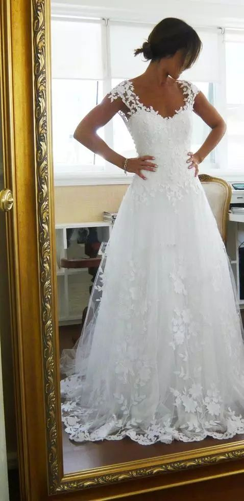 2017 Vintage Sheer A Line Wedding Dresses Cheap Bridal Gown Dresses For Garden Beach Wedding Bride High Quality Lace V Neck Custom 463 Designer Gowns Dresses For A Wedding From Ltdy15995612387, $115.33| Dhgate.Com