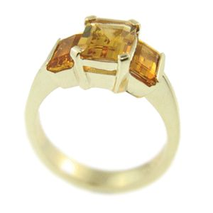 9ct Yellow Gold & Golden Citrine Ring, handmade at Cameron Jewellery