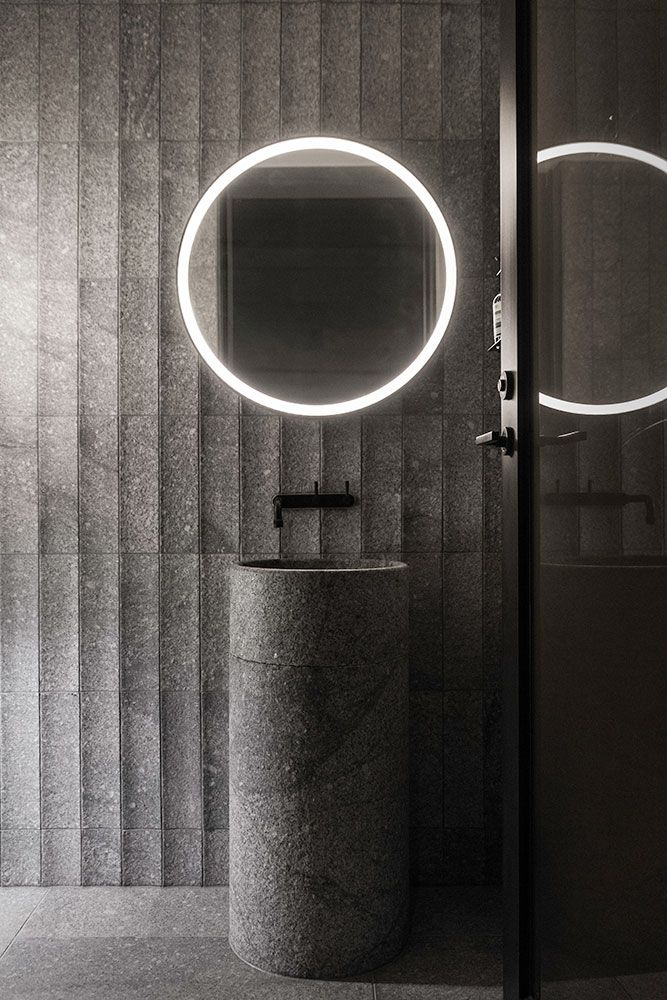 The B.E Architecture designed round mirror is deceptively simple, concealing several functions into one sleek shape. While it is now fully resolved, the design required a few complex fabrication methodologies to bring it all together. An integrated light illuminates around the mirror to light the face for makeup application and…