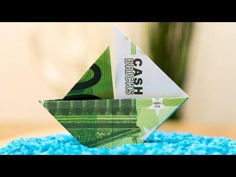 Geldschein falten Segelboot ⛵ Origami Anleitung Deutsch - YouTube
