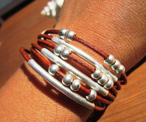 unisex women men multi strand genuine camel brown leather bracelet sterling silver plated tube spacers
