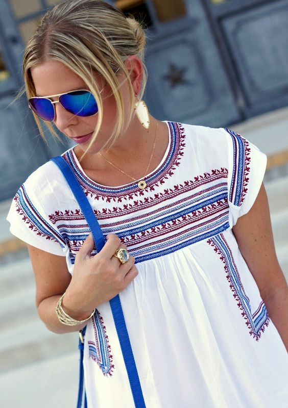 Embroidered peasant blouse with blue aviators and adorable earrings!