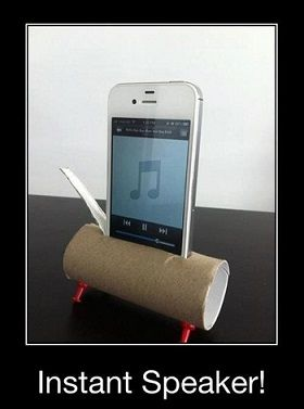 The cheapest iPhone speakers out there. Keep those toilet paper rolls!  Says a pinner: My son tried this. It wasn't a great difference. He then cut holes in plastic cups & added to each end. Worked much better. :)