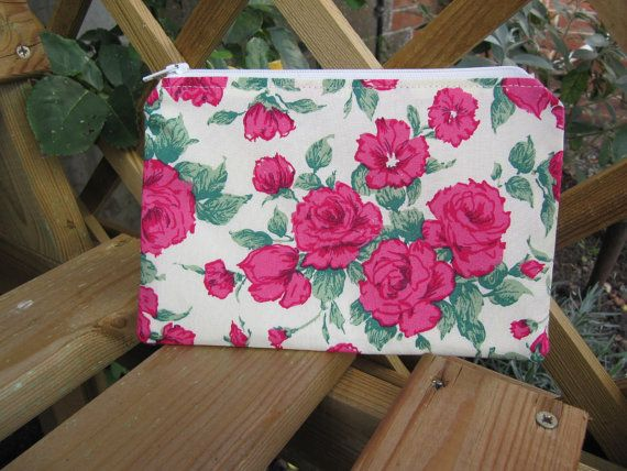 Carline Roses Makeup Bag Cosmetic Purse Zip Purse by BobbyandMeSew