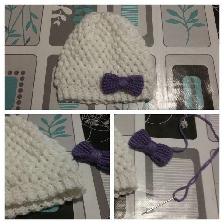 Gorro crochet bebé - blanco