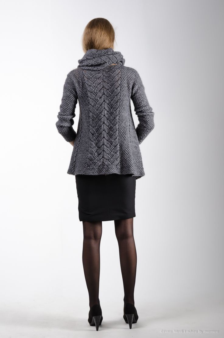 Photo by Meeli Laidvee, TFW 2014 Knitted cardi & cowl with lace pattern, back view