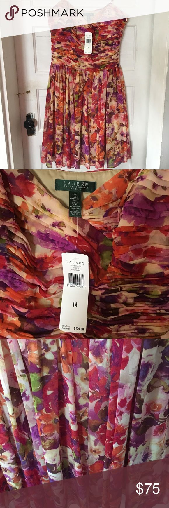 Ralph Lauren women's dress size 14 NWT Absolutely beautiful women's dress by Ralph Lauren in size 14.  Tags say $179 mfg suggested retail price! Beautiful floral print of multiple colors. Has thin straps and zipper under arm area for ease in dressing. Brand new never worn and is fully lined. Ralph Lauren Dresses