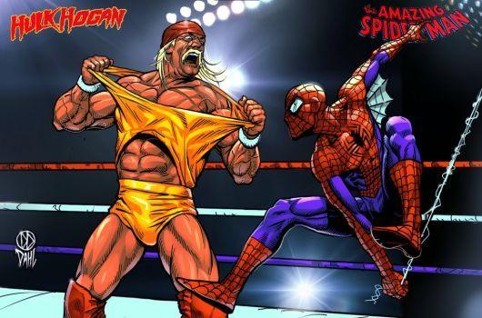 Hulk Hogan Vs Spiderman by DanielDahl
