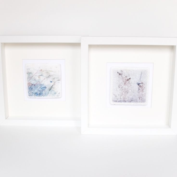 Image of Bird in the Grasses 2 - Limited Edition Printed Marble Tile, Framed & Signed